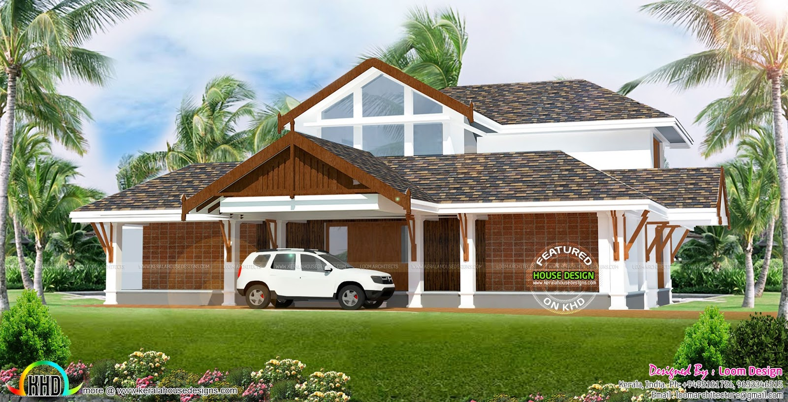 Sloping Roof 2750 Sq-ft, 4 Bedroom Home