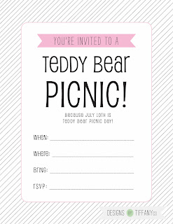 Free Printable : July 10th is Teddy Bear Picnic Day