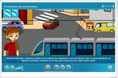 """""""El transporte y las comunicaciones"""" (Ciencias Sociales de Primaria). Plataforma Agrega."""