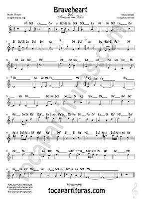 4 Braveheart Partitura Fácil con Notas de James Horner