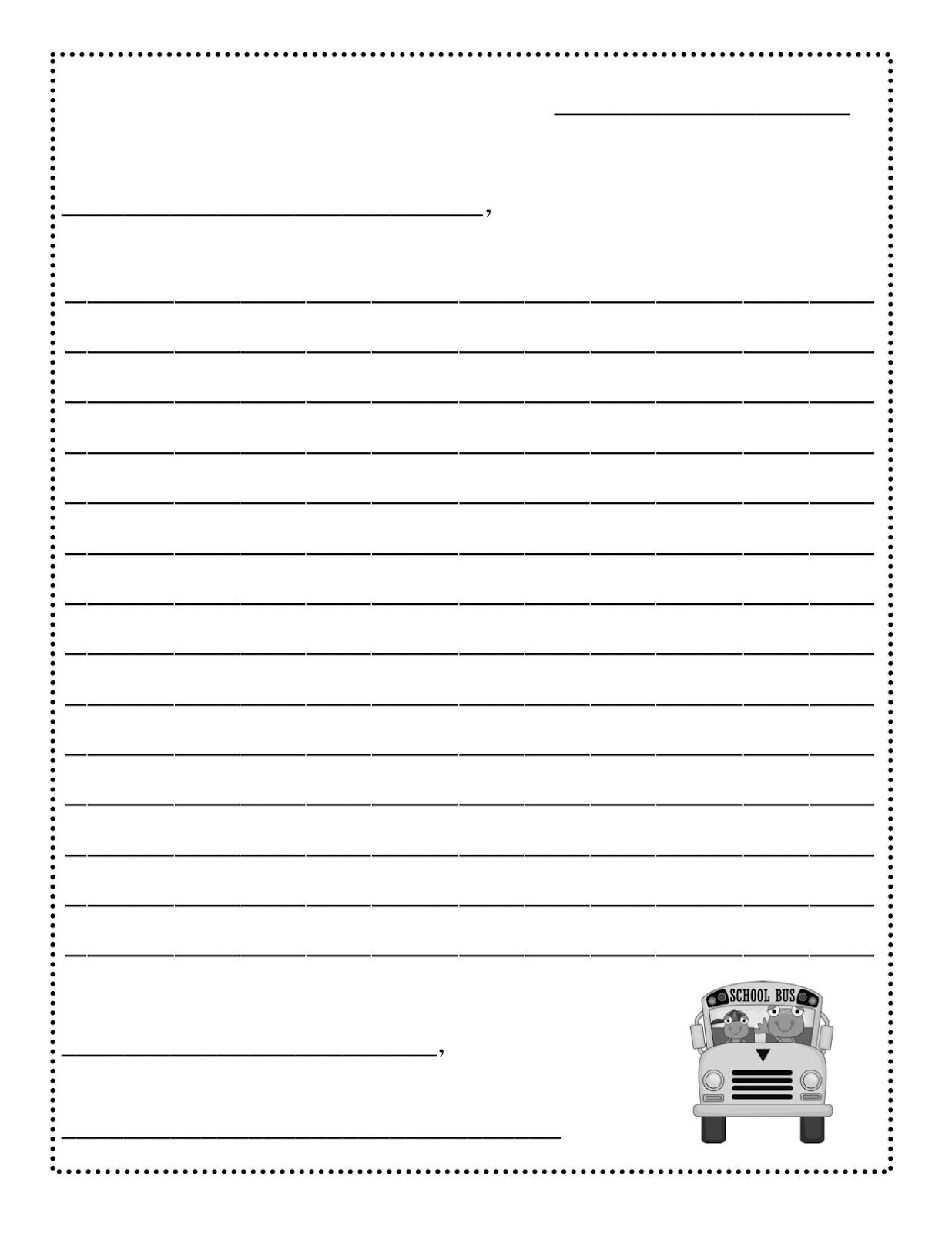 Business Letter Template 2nd Grade