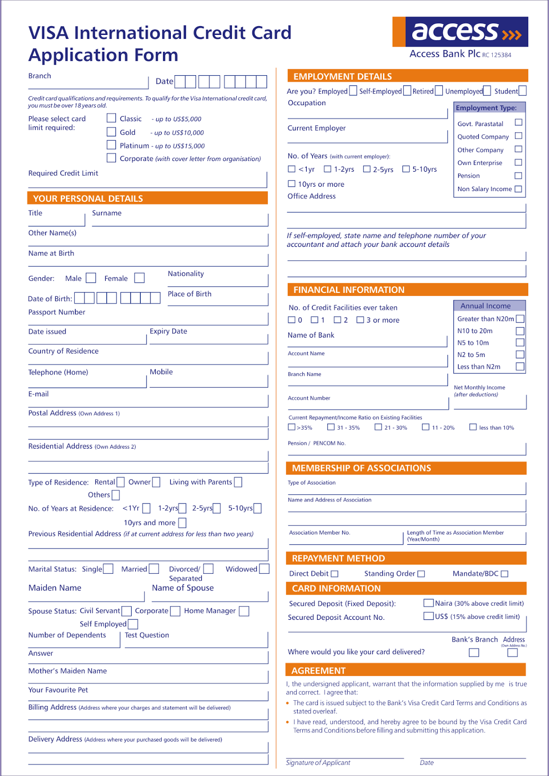 visa credit card application form in 2013 what news 2 day. Black Bedroom Furniture Sets. Home Design Ideas