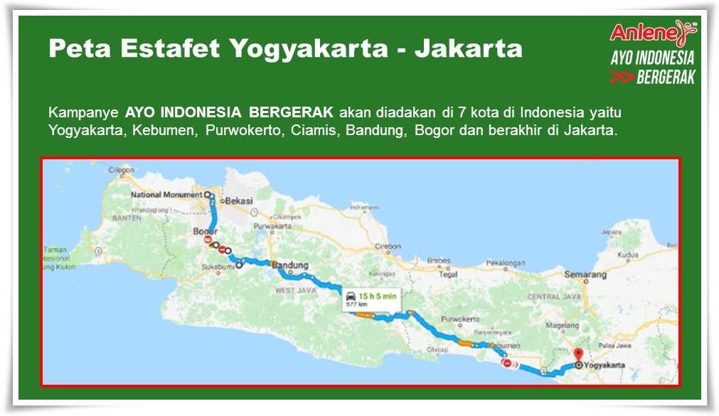 Peta jalur Estafet Anlene Ayo Indonesia Bergerak dari Yogyakarta - Jakarta