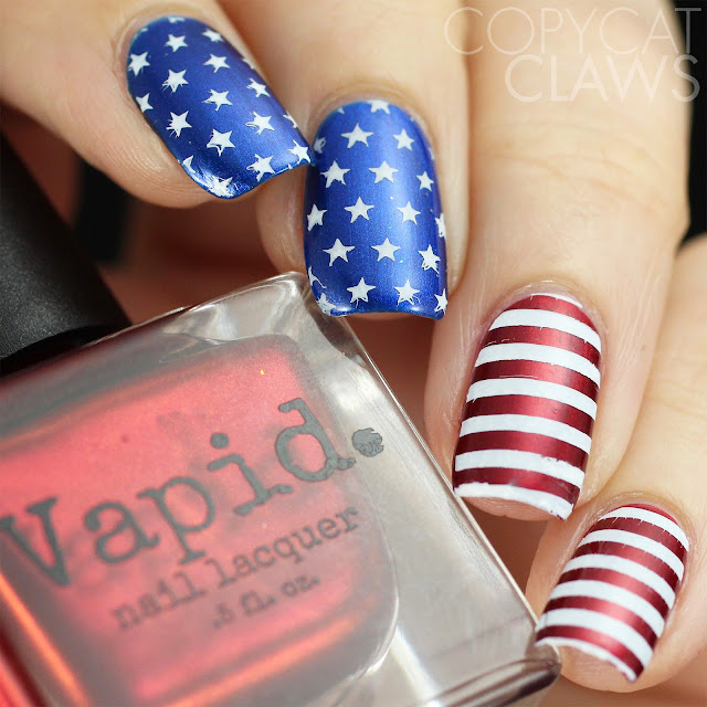 UberChic Beauty Fourth of July nail stamping