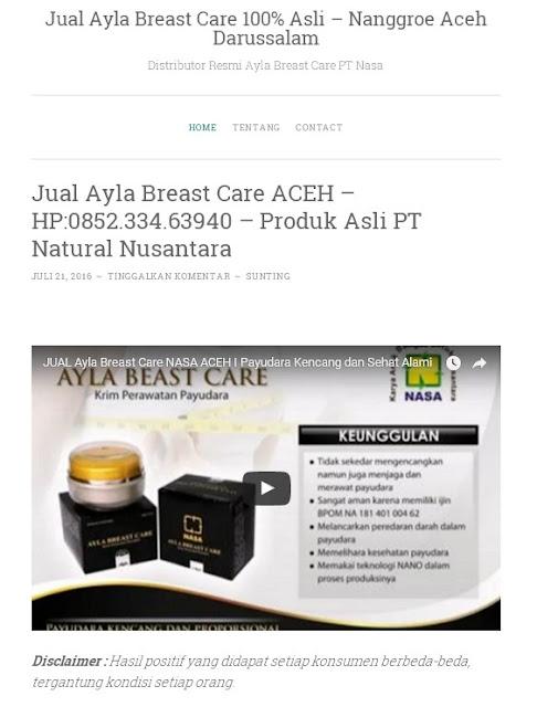Penjual Ayla Breast Care Wilayah Aceh