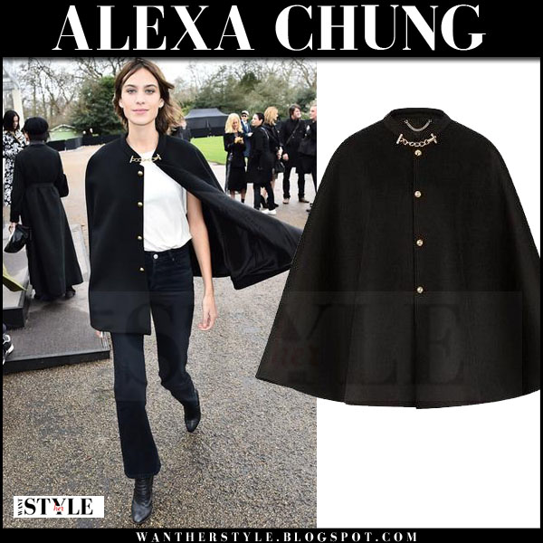Alexa Chung in black cape and flared pants at Burberry what she wore front row