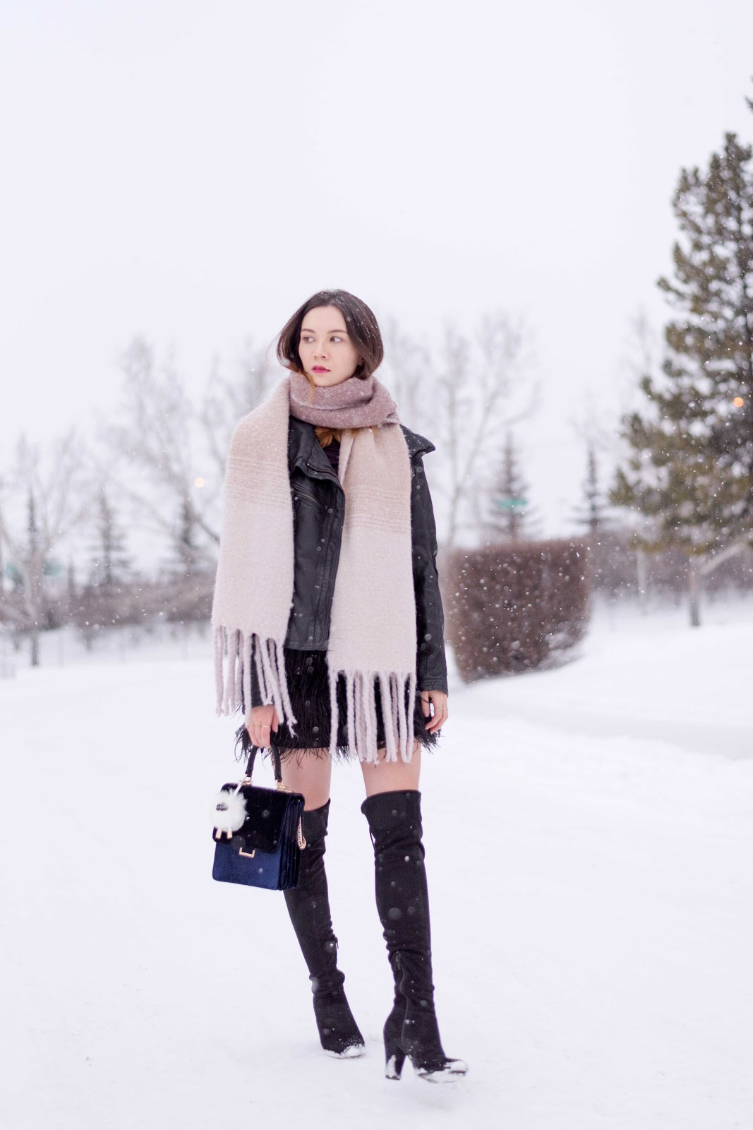 feather skirt, oversized scarf, blanket scarf, over the knee boots, winter style, winter lookbook