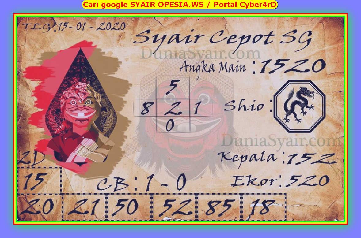 Kode syair Singapore Rabu 15 Januari 2020 111