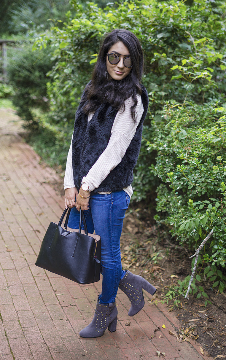 fall fashion outfits, how to style a fur vest,