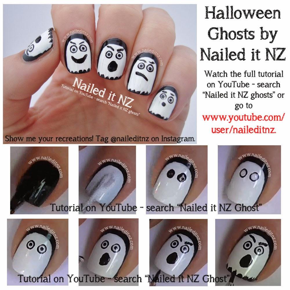 Halloween Nail Art Tutorials - Ghost, Jack-O-Lantern ...