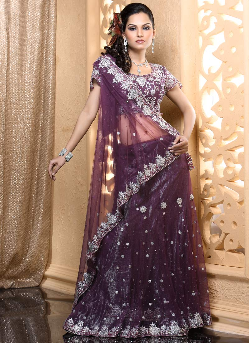 lehenga saree purple designer lehnga celebrity lovely choli gossip india