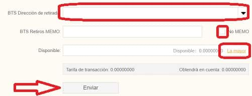 dirección envio de bitshares BTS a wallet oficial