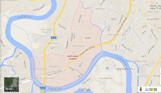 Bản đồ phường Hiệp Bình Chánh