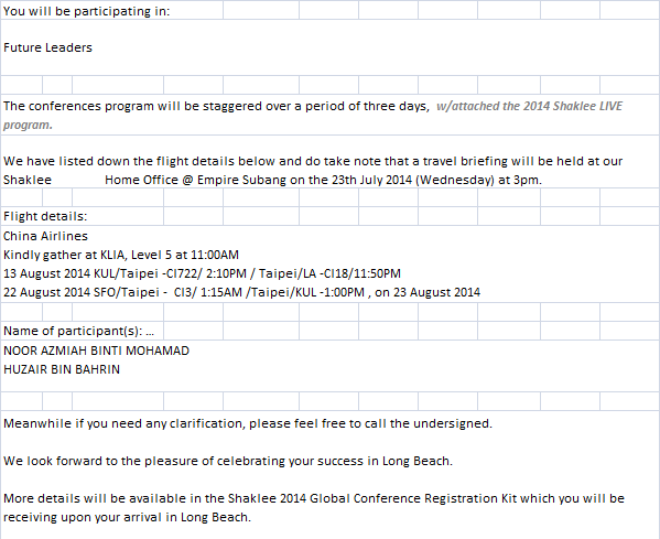 global conference, shaklee US, award US, flight US, dreams, shaklee merialisasi impian