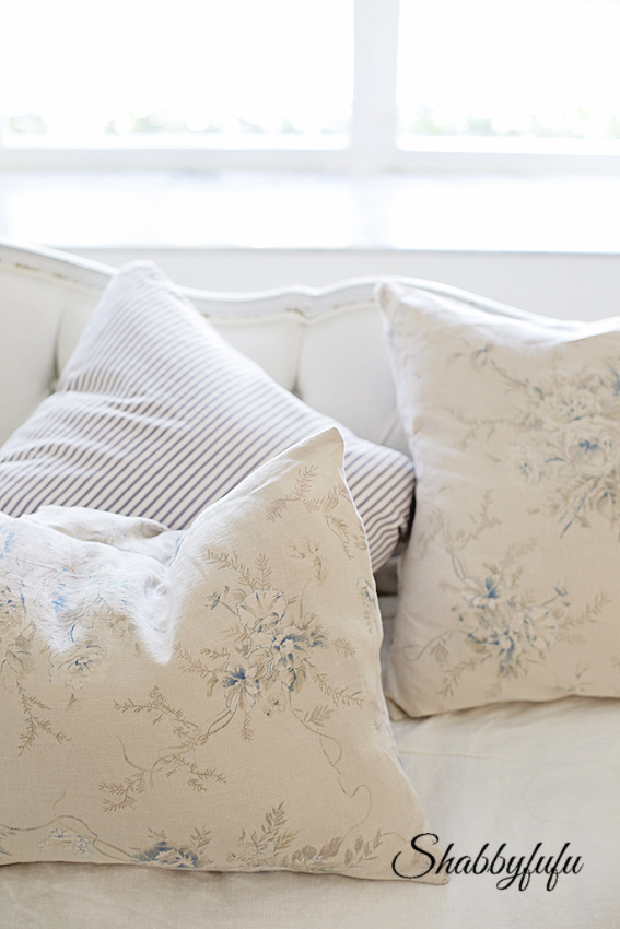 faded floral fabric pillows