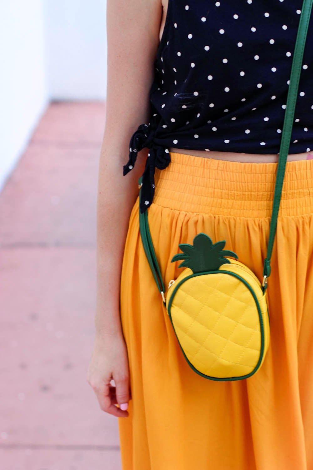 pineapple bag, vintage yellow skirt