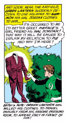Green Lantern (1960) #7 Page 21 Panel 5: Like Aladdin's Lamp, Green Lantern's power ring can make his clothes magically fly through space invisibly.