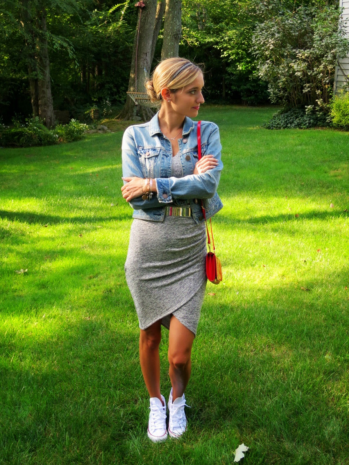 gray knit tulip skirt dress