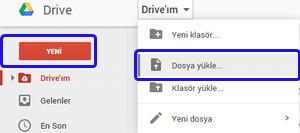 Google Drive dosya yükleme seçeneğini seçme