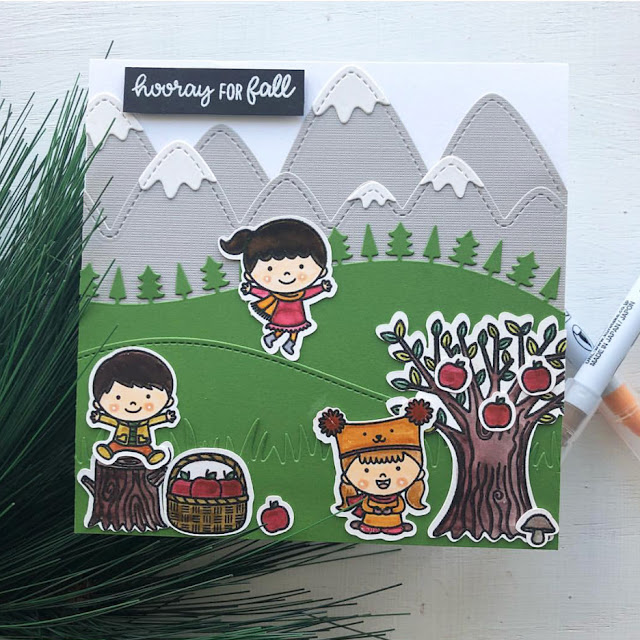 Sunny Studio Stamps: Fall Kiddos Happy Harvest Autumn Themed Customer Card by Ashley Hughes