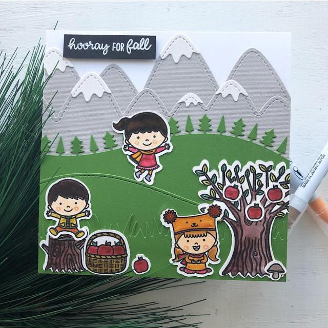 Sunny Studio Stamps: Fall Kiddos Happy Harvest Autumn Themed Customer Card by Ashley Hughes