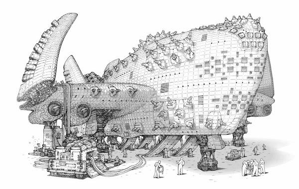 着陸している飛行機械の絵