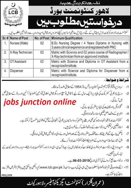 Jobs In Cantonment Board Lahore February 2019 | Latest Advertisement