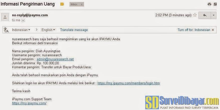 Notifikasi pengiriman iPaymu dari Nusaresearch | Survei Dibayar