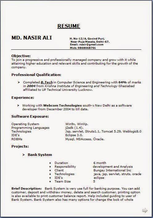 latest resume format sample