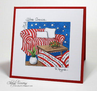 CherylQuilts, God Bless America, Stamps Happen, May We Never Forget, September 11, 2016, Designed by Cheryl Scrivens