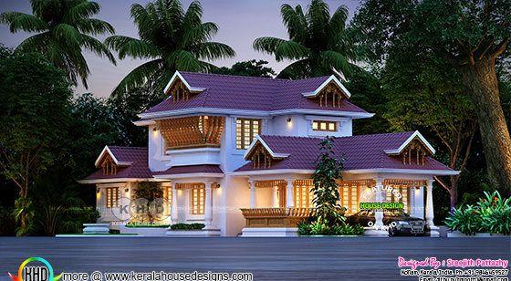 4 bedroom Kerala traditional house rendering