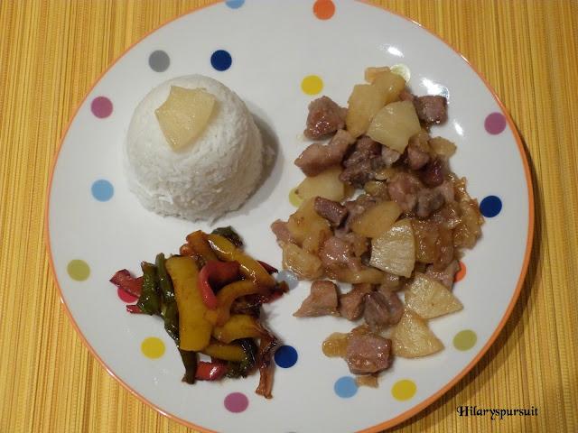 Porc à l'ananas et ses poivrons fondants