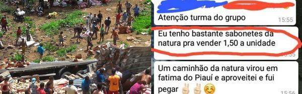Caminhão com produtos da Natura tomba em Picos; população saqueia carga e vende nas redes sociais