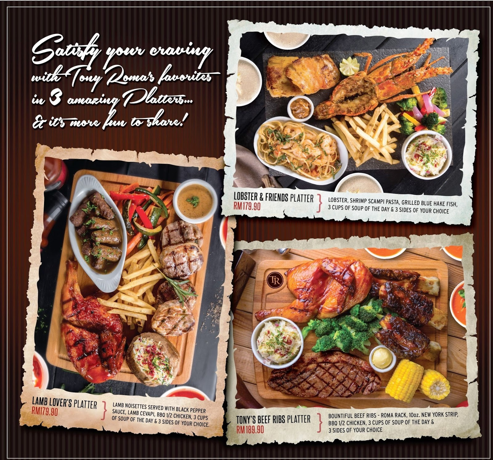 Follow Me To Eat La Malaysian Food Blog Tony Roma S Ribs Seafood Steak Perfect Platters For Sharing