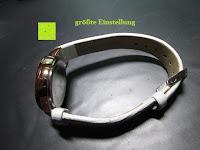 große Einstellung: Ostan Damen Uhren Mode Weiß Leder Runde Zifferblatt mit Zirkonia Armkette Armband Armbanduhr Uhr