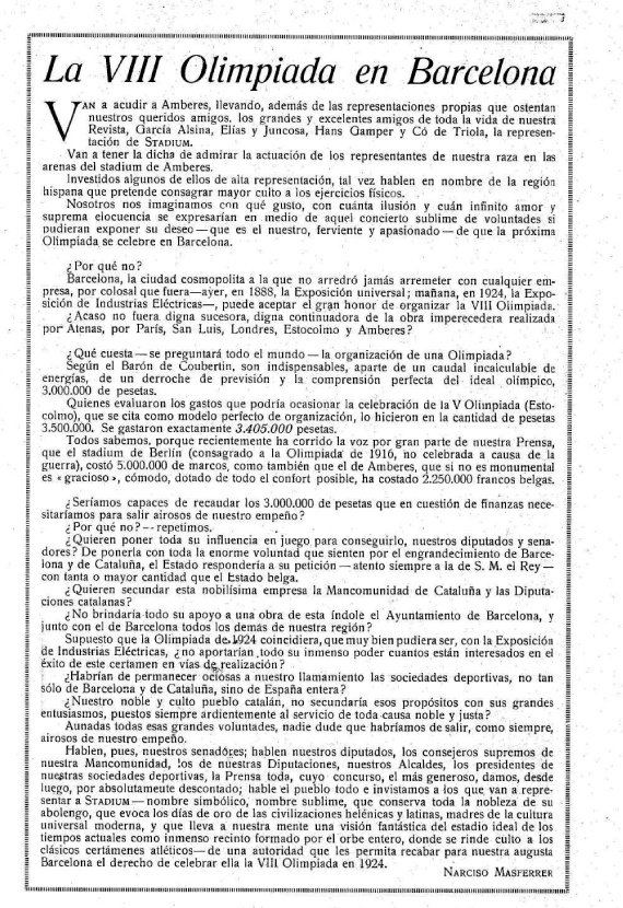 Masferrer, Jocs Olímpics, Elías i Juncosa, Coubertin, 1924