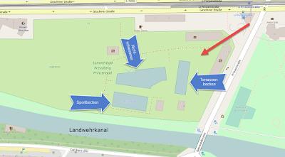 Übersichtsplan des Prinzenbads basierende auf Open Street Map. Mit den drei Becken und dem Landwehrkanal.