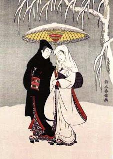 鈴木春信 「相合傘」 春信の浮世絵には傘を差した魅力的な作品が多くある... 現代画工 「由三蔵