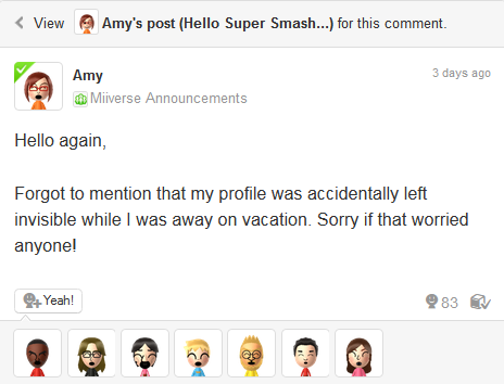 The true reason Nintendo Amy was hidden on Miiverse