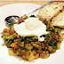 Delicious combination of lightly curried lentils with kale & chorizo topped off with a poached egg
