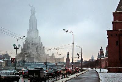 El Palacio de los Soviets en Moscú si se hubiera construido