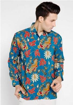 kemeja batik kombinasi pria modern