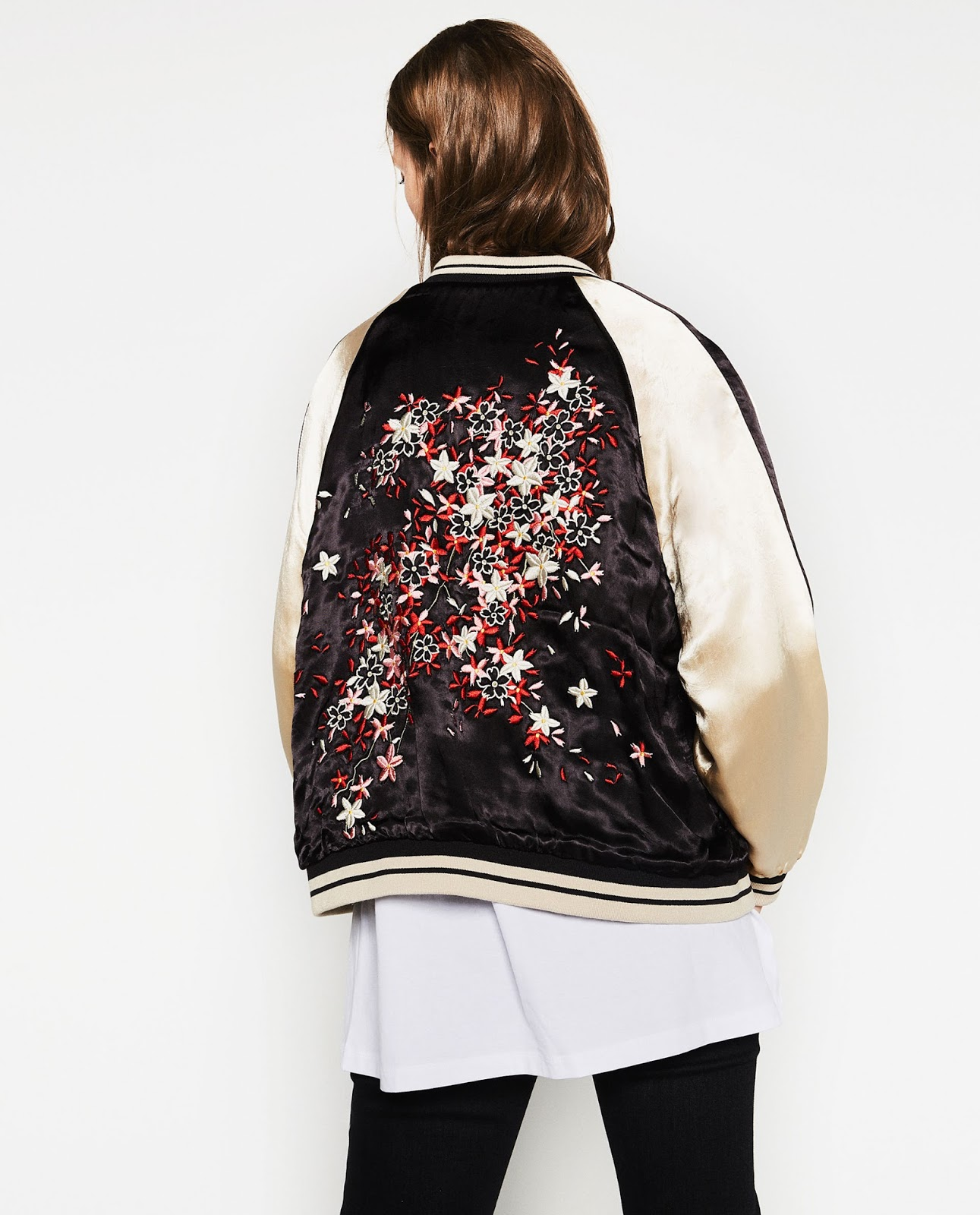 Zara bomber jacket with embroidery