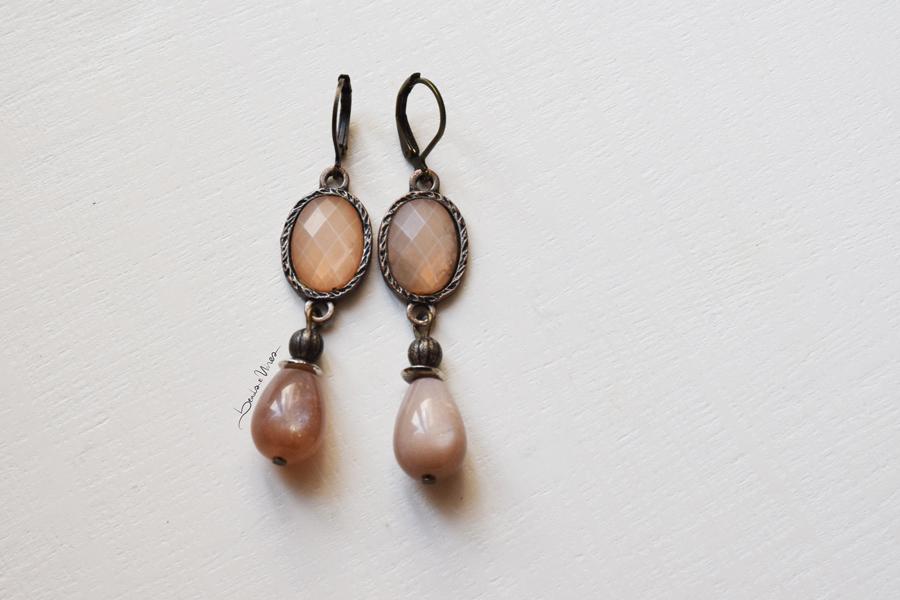 beads and wires orecchini rosa antico
