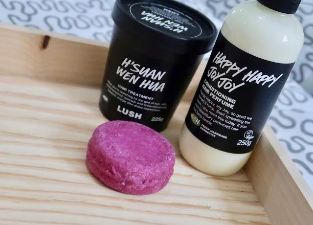 Lush Hsuan Wen Hua happy happy joy joy conditioner jason and the argan oil shampoo bar