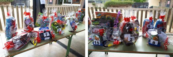 Imatges dels lots sortejats en la rifa de la Festa de l'esport de l'AMPA