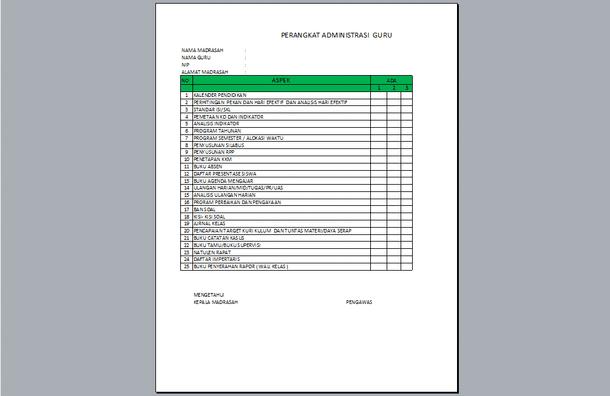 Perangkat Administrasi Guru Format Microsoft Excel untuk SD SMP SMA SMK