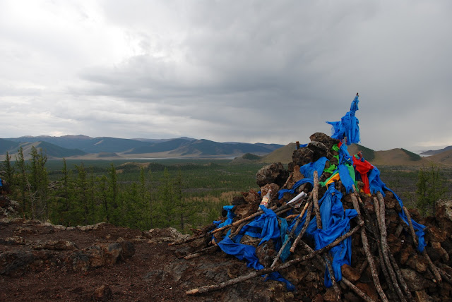 A shamanistic ovoo. Terkhiin Tsagaan Nuur National Park, Mongolia