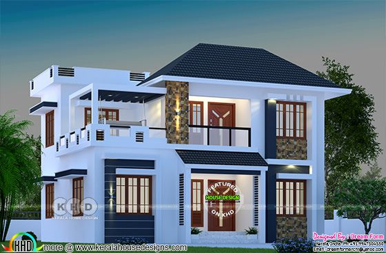 1744 square feet modern Kerala home with 4 bedrooms