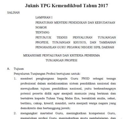 Juknis TPG Kemendikbud Tahun 2017